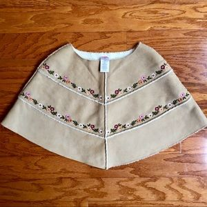 Gymboree size 3/4 for girls faux suede poncho.